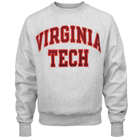 Virginia Tech Reverse Weave Tackle Twill Crew Sweatshirt: Silver Gray by Champion