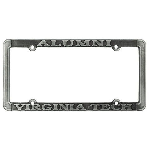 Virginia Tech Alumni Thin Rim License Plate Frame: Antique Pewter