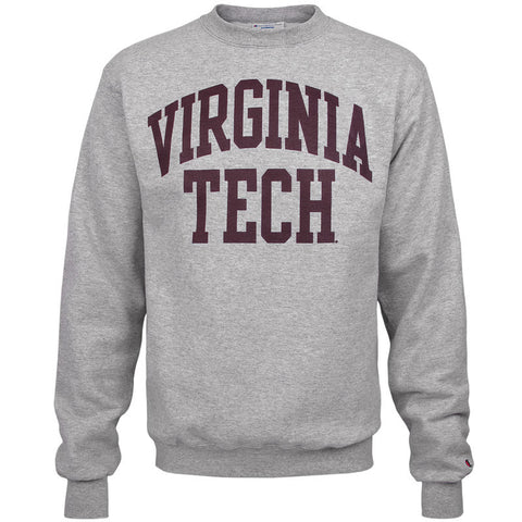 Virginia Tech Authentic Crew Sweatshirt: Heather Gray by Champion