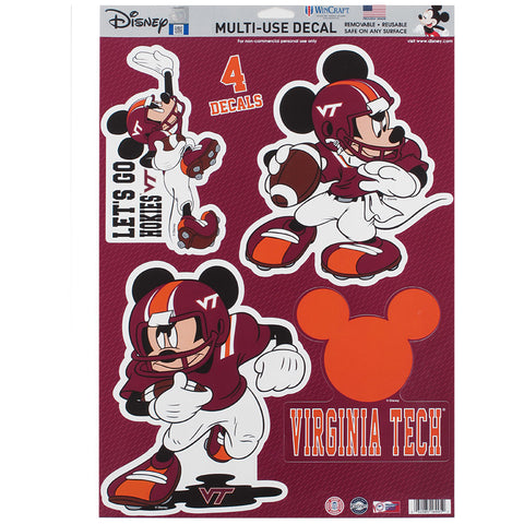 Virginia Tech Mickey Mouse Decal: Pack of 4