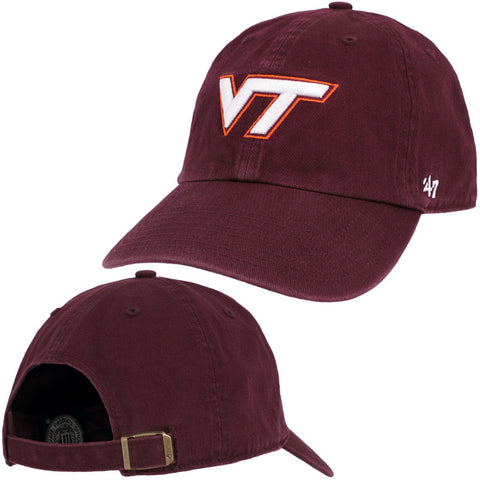 Virginia Tech Clean Up Hat: Maroon by 47 Brand