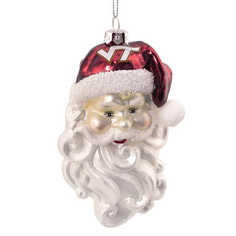 Virginia Tech Glass Santa Head Ornament
