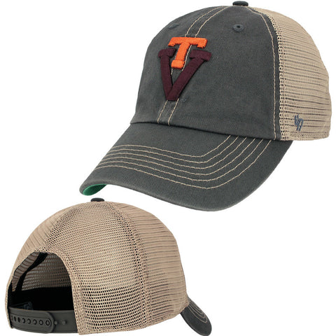 Virginia Tech Retro Logo Trucker Hat: Charcoal by 47 Brand