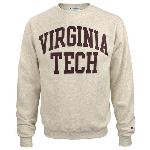 Virginia Tech Authentic Crew Sweatshirt: Oatmeal Heather by Champion