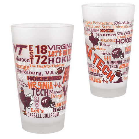 Virginia Tech Campus Wrap Frosted Pint Glass