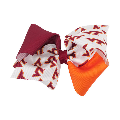 Virginia Tech Color Block Bow Barrette