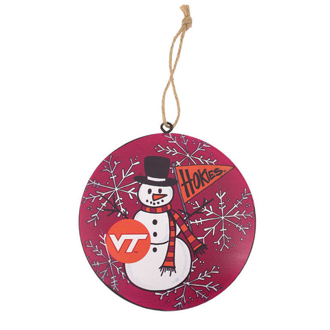 Virginia Tech Round Metal Snowman Ornament