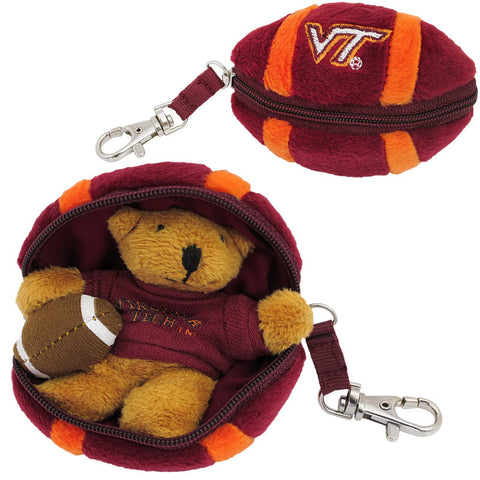 Virginia Tech Plush Football with Hidden Bear Keychain