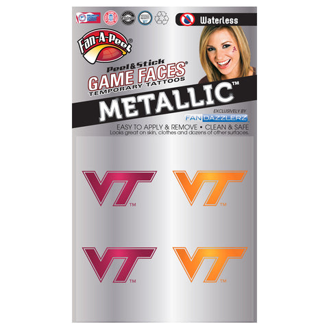 Virginia Tech Metallic Logo Face Tattoos