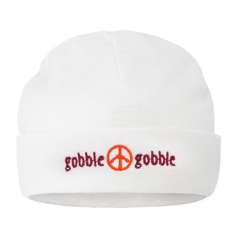 "Maroon and Orange Baby ""Gobble Gobble"" Beanie"