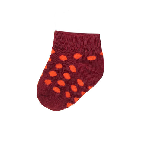 Maroon and Orange Baby Polka Dot Socks