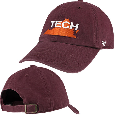 Virginia Tech Retro State Outline Hat: Maroon by 47 Brand