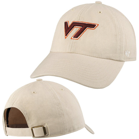 Virginia Tech Clean Up Hat: Oatmeal by 47 Brand