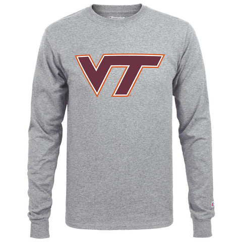 Virginia Tech Logo Long-Sleeved T-Shirt: Oxford Gray by Champion
