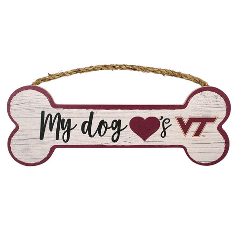 Virginia Tech Dog Bone Wooden Sign