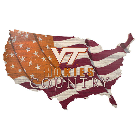 Virginia Tech USA Map Wooden Sign
