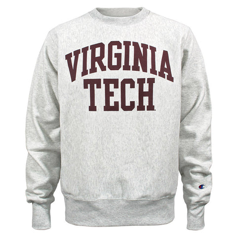 Virginia Tech Reverse Weave Arch Crew Sweatshirt: Silver Gray by Champion