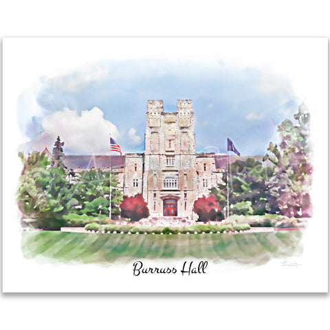Tech Landmarks Watercolor Print: Burruss Hall