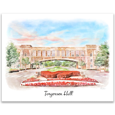 Tech Landmarks Watercolor Print: Torgersen Hall
