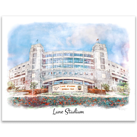 Tech Landmarks Watercolor Print: Lane Stadium
