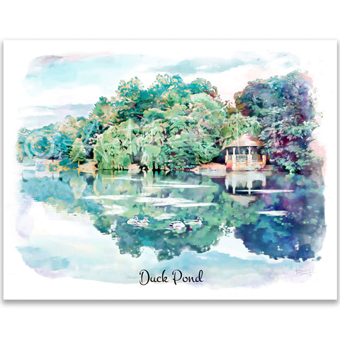 Tech Landmarks Watercolor Print: Duck Pond