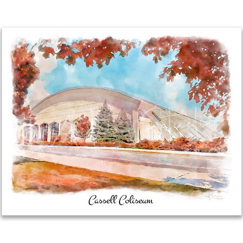 Tech Landmarks Watercolor Print: Cassell Coliseum