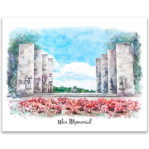 Tech Landmarks Watercolor Print: War Memorial
