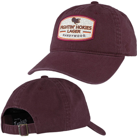 Virginia Tech Fight Hokies Lager Label Hat: Maroon by Zephyr