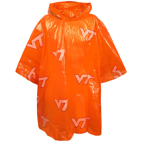 Virginia Tech Hooded Rain Poncho: Orange