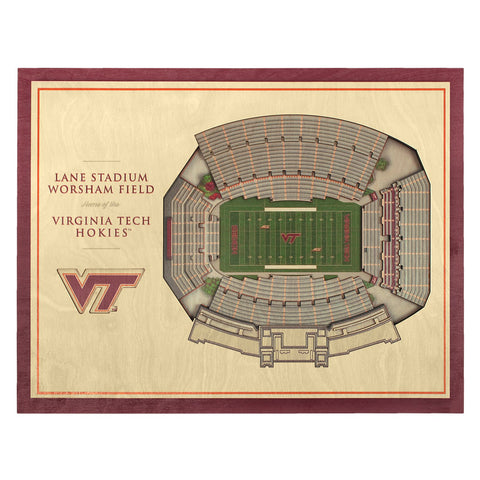 Virginia Tech Lane Stadium 3D Replica Wall Art