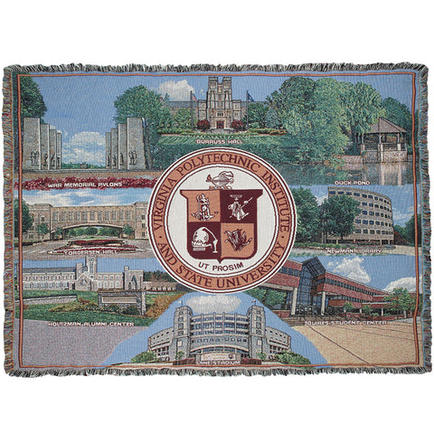 Virginia Tech Campus Buildings Tapestry Throw