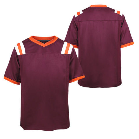 Maroon and Orange Blank Youth Football Jersey