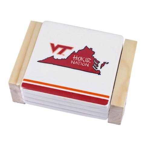 Virginia Tech Striped Ceramic Coaster Set