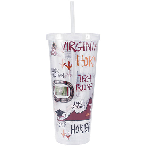 Virginia Tech Marks Tumbler with Straw