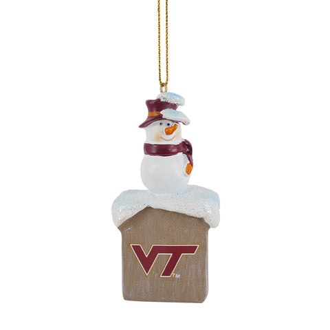 Virginia Tech Snowman on Chimney Ornament
