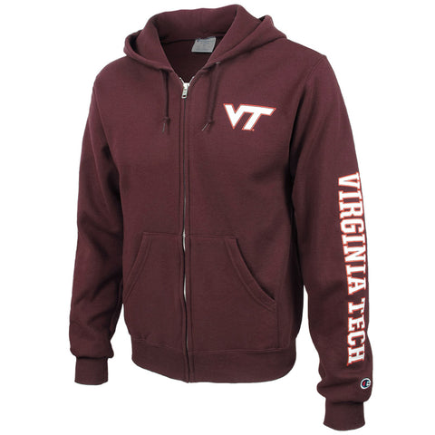 Virginia Tech Full-Zip Hooded Sweatshirt: Maroon by Champion