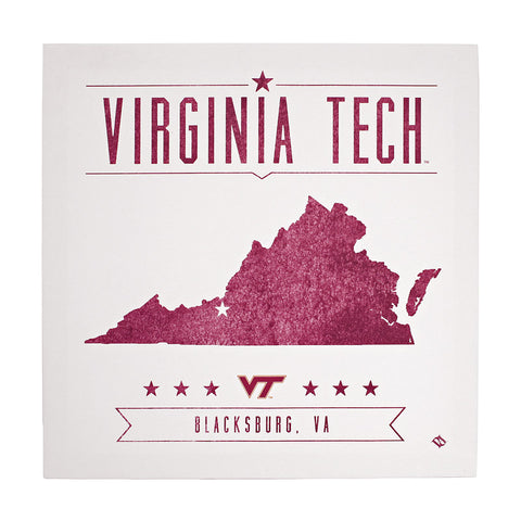 Virginia Tech Distressed State of Virginia Canvas