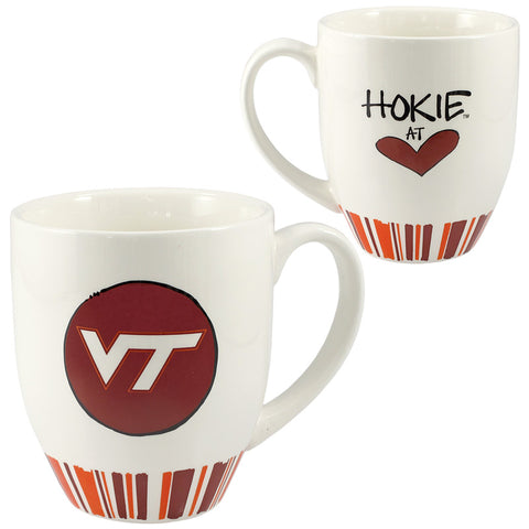 Virginia Tech Heart Striped Ceramic Mug