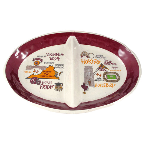 Virginia Tech Melamine Two Section Platter