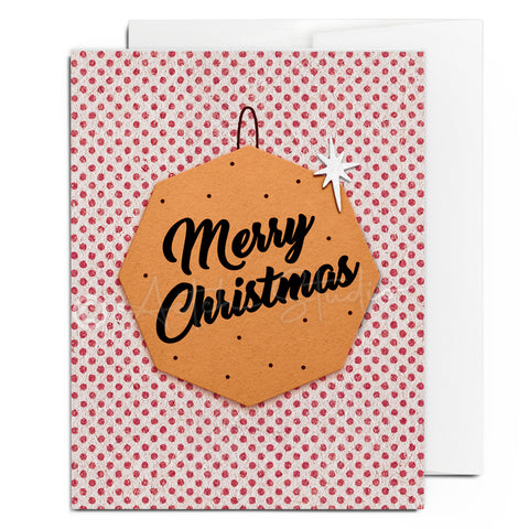 Retro Merry Christmas Ornament Card
