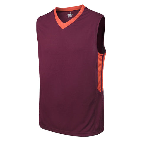 Maroon and Orange Blank Basketball Jersey