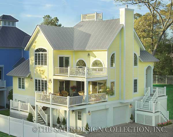 Aruba Bay Beach House Rear Elevation-Plan #6840