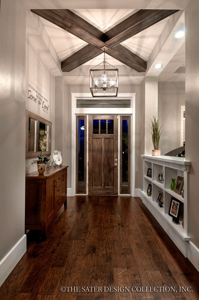 entry craftsman styled divider beamed ceilings