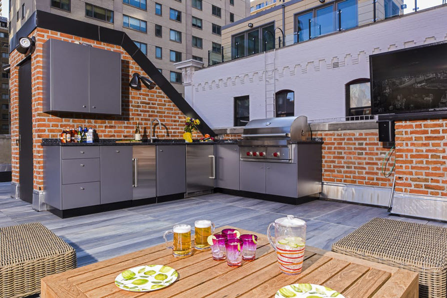 roof top outdoor kitchen with stainless steel cabinets