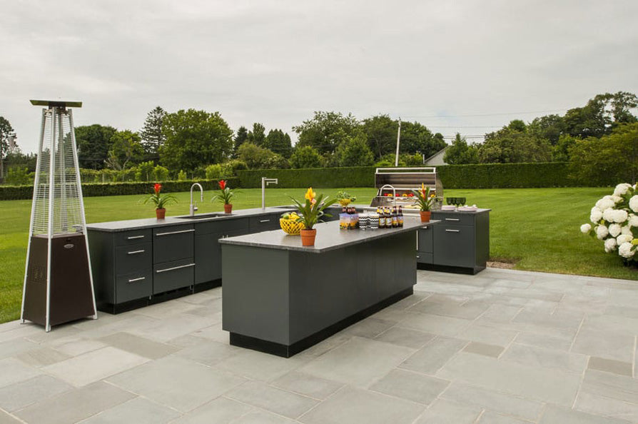 outdoor kitchen with stainless steel cabinets