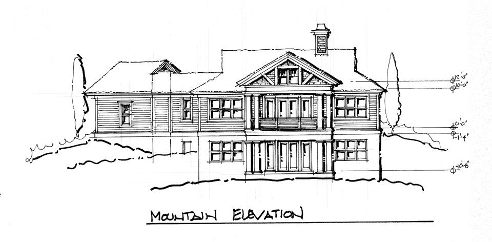 The Tamarack - mountain house design rear elevation
