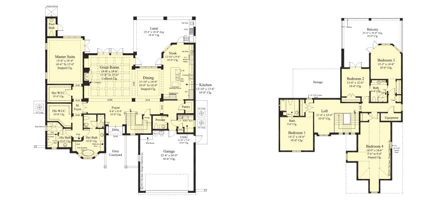 floor plans, first and second, of a two-story award-winning stock house plan