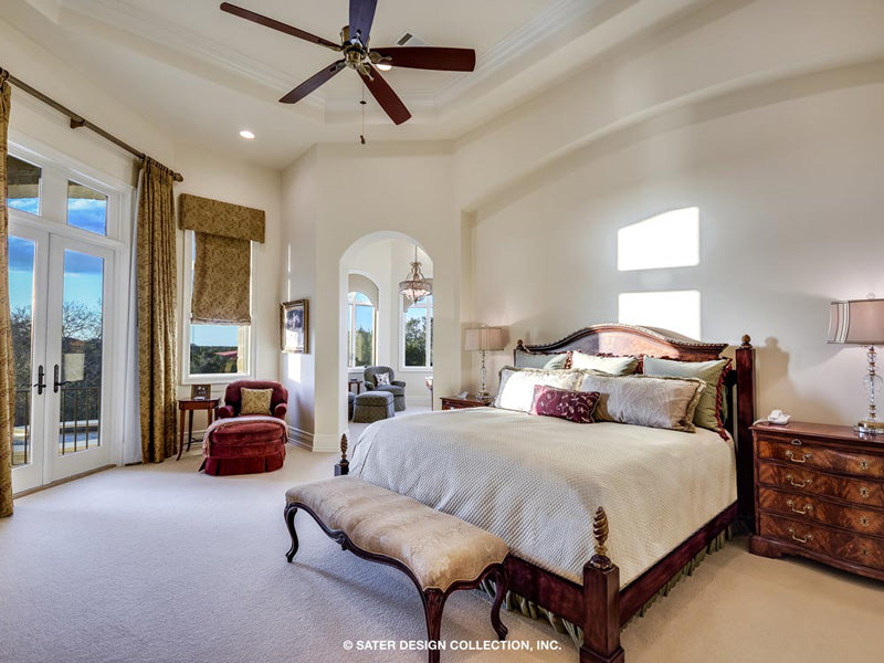 master suite bedroom of a custom designed house