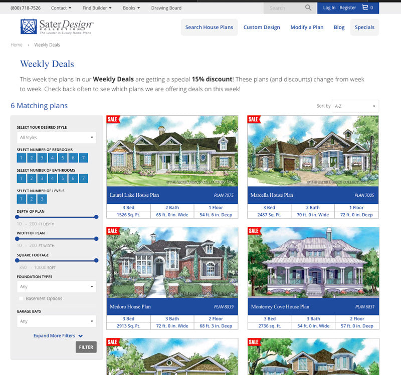Weekly Special Deals on Stock House Plans