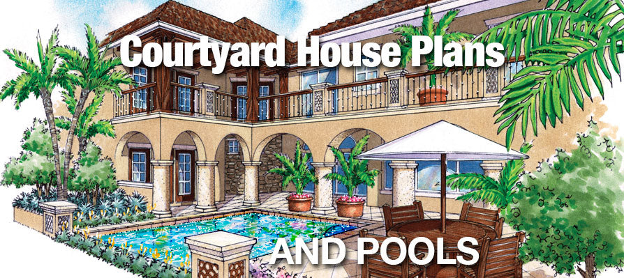Home Plans With Courtyard | Courtyard House Plans And Pools Sater Design Collection